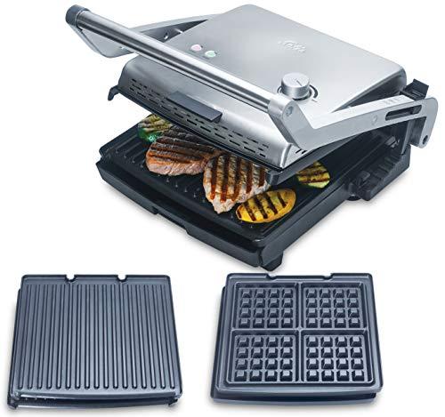 Solis Kontaktgrill mit abnehmbaren Grillplatten, Inklusive Waffel-Backplatten, Stufenlose Temperaturregulierung, 1800 Watt, Grill & More + Waffel (Typ 7952)