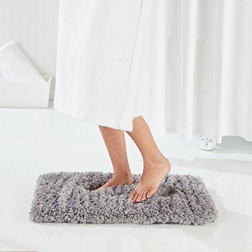 "Genteele Non-Slip Memory Foam Shaggy Bathroom Mat, Water Absorbent, Super Plush Bath Mat, Washable Bathroom Rug (21"" X 34"", Gray)"