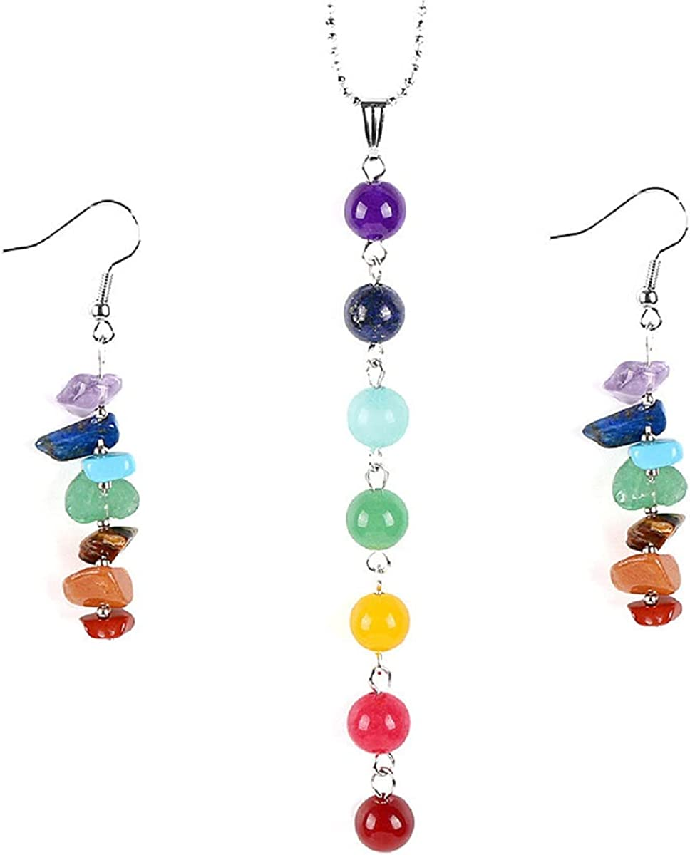 7 Chakra Stone Long Drop Dangle Earrings Colorful Necklace Set Crystal Hook Reiki Healing Beads for Women Girls Yoga Energy Balancing Jewelry