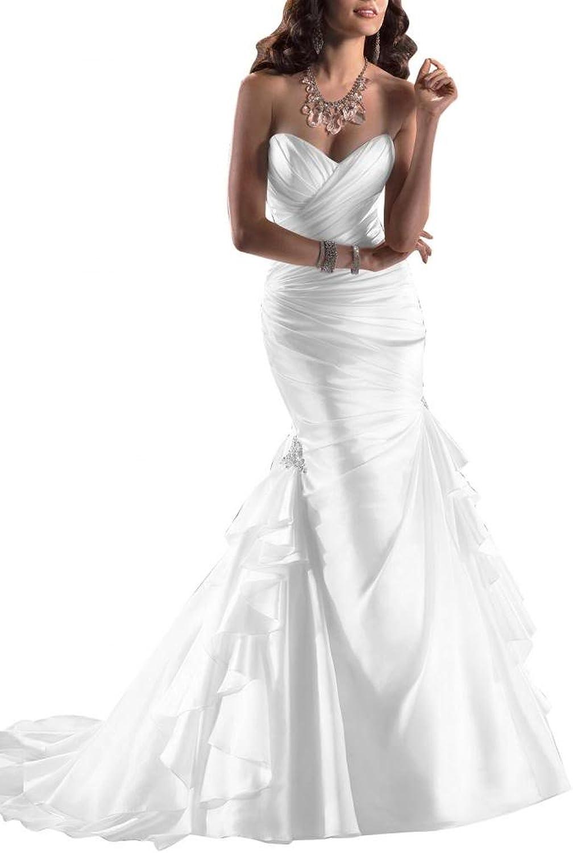 Angel Bride Modern Satin Sweetheart Wedding Dresses Long Dresses