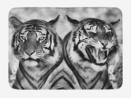 Tapis de bain Safari, expression de chat images opposées, miroir de dents redoutables, faune intense en colère, tapis de décoration de salle de bain en peluche avec support antidérapant, gris pâle noi