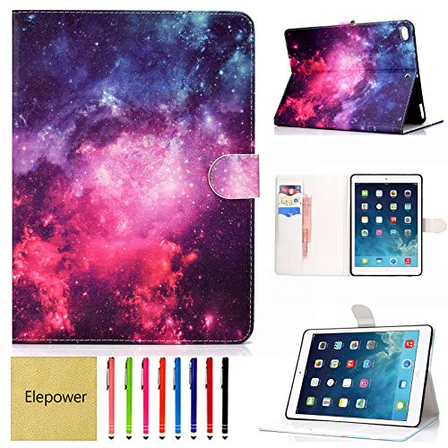 Case for New iPad 10.2 7th Generation 2019/iPad Air 3rd Gen 10.5' 2019/iPad Pro 10.5' 2017, Elepower PU Leather Folio Stand Smart Cover with Auto Sleep/Wake and Card Slots Wallet Case, Galaxy