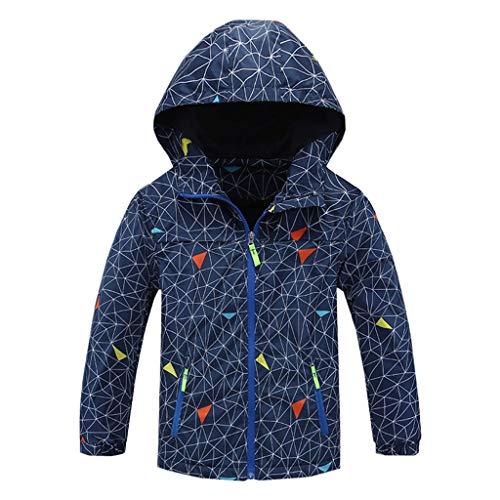OMSLIFE [Jungen Jacke mit Fleecefütterung Jacke mit Gefütterte Kinder Wander Jacket Wasserdicht Softshelljacke Warm Regenjacke Übergangsjacke Outdoor Mantel (130CM, C)