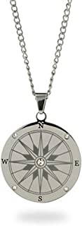 Eve's Addiction Stainless Steel with CZs Compass Pendant Necklace (18