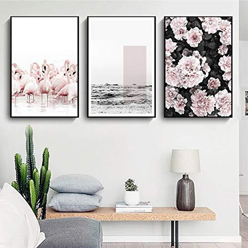 SDFSD Moderne rosa Blumen Schmetterling Leinwand Gemälde Flamingo Blume Nordic Wandkunst Bilder Poster Druck für Schlafzimmer Home Decor Geschenk 30 * 40cm