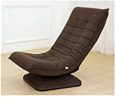 LJBH Lazy Couch Single Chair Tatami, Foldable Rotating Small Apartment Fabric Leisure Moon Chair Balcony Bedroom Reclining...