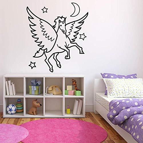 Tianpengyuanshuai Fototapete Schlafzimmer Pegasus Magic Horse Dekoration Traum Cartoon Kinder Vinyl Wandaufkleber 57x63cm