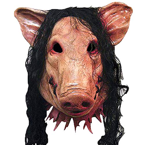 Vidillo Face Mask Halloween,Horrigble Halloween Saw Mask,Scary Masquerade Animal Face Mask,Novelty Pig Costume Funny Mask for Party Halloween