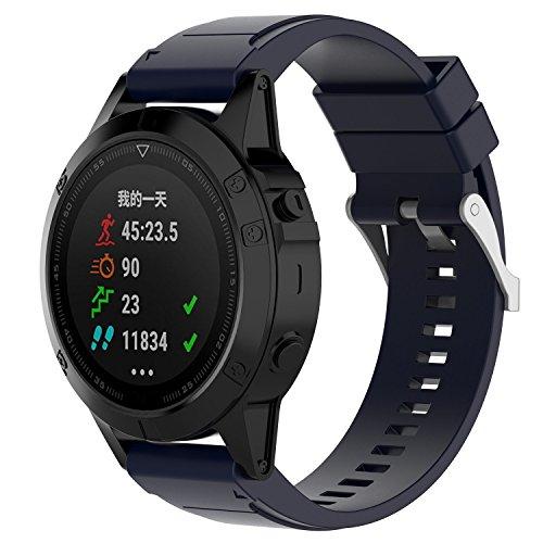 Cobar riem voor fenix 6X, fenix 6X pro,Fenix 6X Sapphire,fenix 6x solar,fenix 5X Plus,fenix 5X riem, Soft Silicone Eenvoudige installatie Sport Horloge Band vervanging voor Garmin Fenix 3/ D2 Bravo/Quaitx 3, Fenix 5X (26MM), Middernacht Blauw