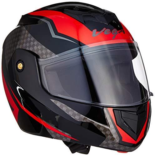 Vega Crux ABS DX Checks Full Face Helmet (Black and Red, Large)