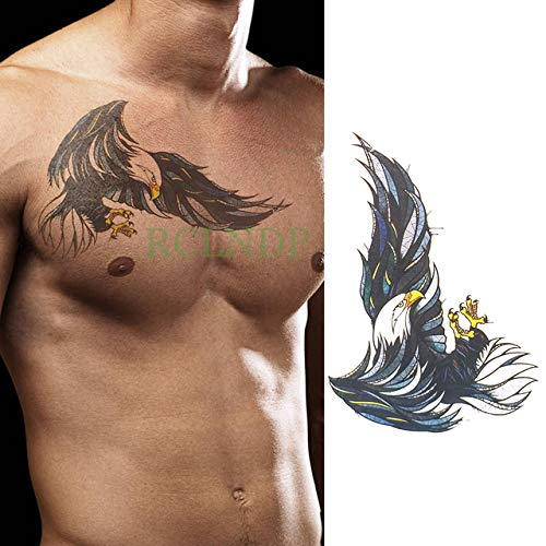 adgkitb 3 Piezas Etiqueta engomada del Tatuaje Temporal a Prueba de Agua Cool Eagle Wing Man Fake Tatoo Back Leg Abdomen Arm Tatouage para niñas Mujeres Hombres CE 21x15cm