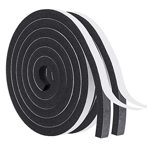 Windows Sealing Tape-2 Rolls, 1/2 Inch Wide X 1/2 Inch Thick Weather Stripping for Windows and Doors Adhesive Soundproofing Thick Foam Tape Total 13 Feet Long(6.5ft x 2 Rolls)