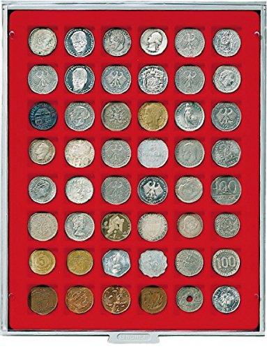 LINDNER Das Original Box Monnaies Standard à 48 alvéoles carrés pour Monnaies/Capsules jusqu'à Ø 28 mm