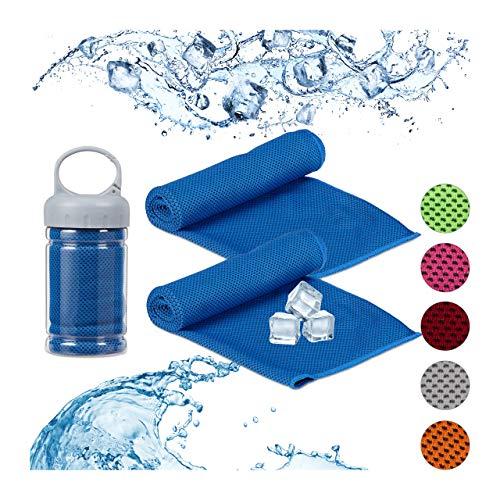 Relaxdays unisex – Volwassenen handdoek koelende handdoek, 2-delig pak, microvezel, koelhanddoeken hals, sport & fitness, koelhanddoek, 90 x 30 cm, blauw, 2 stuks