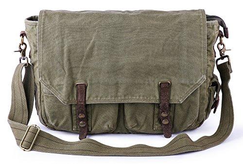 Gootium Satchel Canvas Messenger Bag - Vintage Cross Body Unisex Shoulder Bag - Fit 15.6-Inch Laptop, Army Green