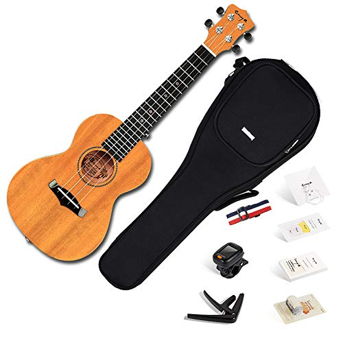 Enya Concert Ukulele 23 Inch Solid Mahogany Top with Ukulele Starter Kit Includes Online Lessons, Case, Strap, Strings, Capo, Sand Shaker, Pick,Polish Cloth (EUC-25D)
