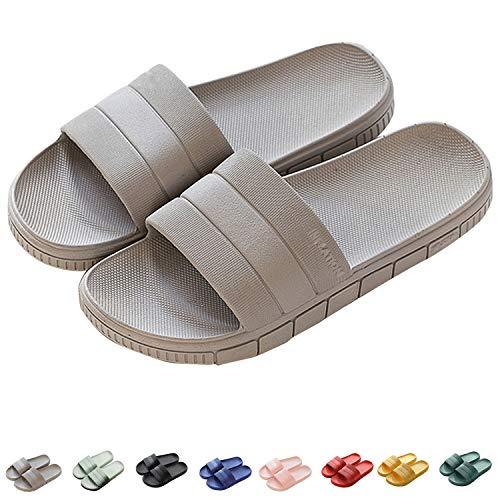 Zapatillas de Estar por casa de Hombre y Mujer, Tira Ancha, Sandalia Verano, Gris, 240mm/(Talla 36-37)