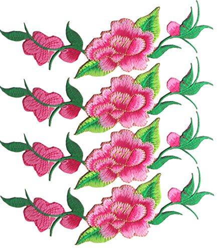 4 piezas flores apliques hierro bordado color rosa
