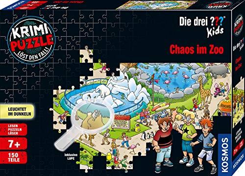 Kosmos 697990 - Krimi Puzzle: Die drei ??? Kids - Chaos im Zoo, Leuchtet im Dunkeln. 150 Teile, inkl. kleine Lupe, Lesen - Puzzeln - Rätsel lösen, für Kinder ab 7 Jahre