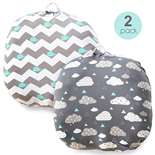 Stretchy Newborn Lounger Cover -2 Pack Removable Slipcover,Super Soft Snug Fitted,Whale & Clouds