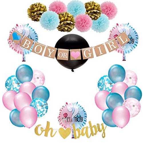 Amycute Gender Reveal Party Dekoration, 35 Stück Babyparty Geschlecht Offenbaren Baby Deko Mädchen Girl oder Junge Boy Banner Luftballons Rosa Blaue Konfetti Ballon Foto Requisiten.