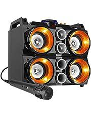 Fenton MDJ200 Draadloze Bluetooth Party Speaker 150 Watt, met Ingebouwde Accu, Microfoon, Verlichte Luidsprekers, LCD Scherm, Echo Effect, USB/SD MP3 Speler