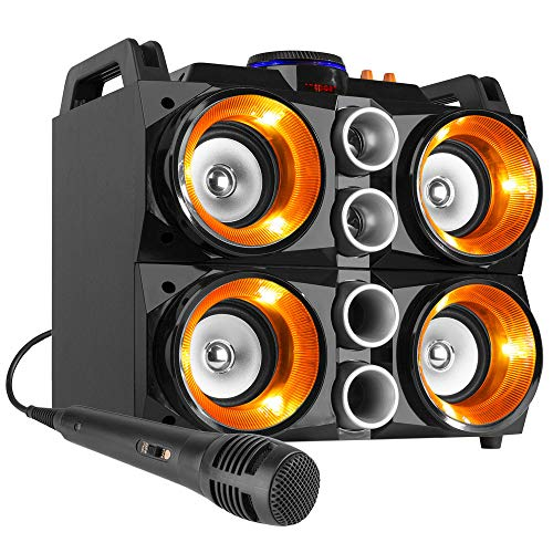 Fenton MDJ200 Party Station, 150W, 4x4 Lautsprecher, 7,4V/2000mAh-Akku, USB, SD-Card Slot, Bluetooth, MP3-Player mit Display, Akku-Laufzeit: 6 Stunden, MDF-Gehäuse, 2 Tragegriffe, schwarz/orange