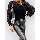 PKYGXZ Camisetas con patrón Hueco para Mujer, suéter con Mangas de Linterna y Costura de Encaje, Camiseta, Top, pulóver, Camisa de Punto, Top