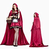 XSQR Halloween Mujer Cosplay Vestido Caperucita Roja Capa Capa Caperucita Roja Disfraz,Red,L