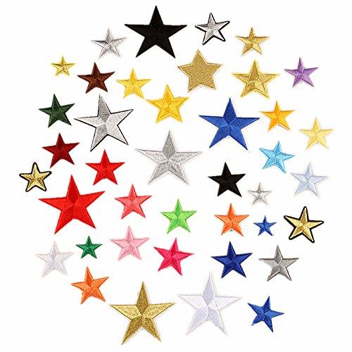 Parches bordados de varios colores, 40 unidades, diseño de estrellas, para coser o planchar