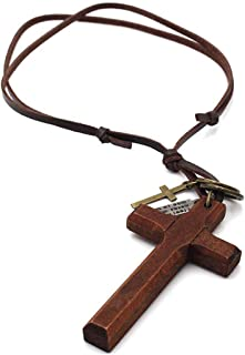 Cross Necklace for Men with Leather Chain Vintage Look Wood Necklace