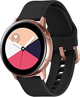 TECKMICO Galaxy Watch Active Bands,20mm Quick Release Bands Compatible for Samsung Galaxy Watch Active (40mm)/Galaxy Watch(42mm)/Gear Sport with Rose Gold Watch Buckle (Black, Large)