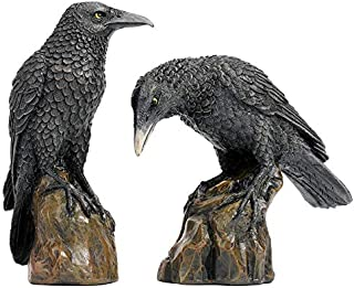 Design Toscano Mystic Night Raven Gothic Statues, 6 Inch, Set of Two, Polyresin, Full Color