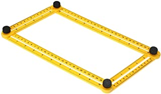 SUNNY 自由スコヤ 折り畳み定規 可動式 コンパクト マルチ定規 物差し DIY テンプレート 工作 筋交付き 任意角度 変形 メール便、定形外商品の厚さ測定に