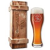 Weizenbierglas von Leonardo + geflammte Holzkiste + Gratis Gravur = individuelles Bier-Geschenk-Set Geburtstagsgeschenk (B2)