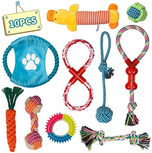 Labeol Dog Toys Puppy Toys from 8 Weeks Puppy Chew Toys Natural Cotton Interactive 10Pcs Dog Rope Toys Indestructible Tough Puppy Chew Toys for Small Puppy Strong Dogs
