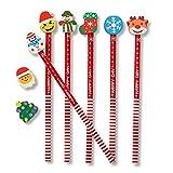 THE TWIDDLERS 50 Lápices Navideños con Borradores - Muñeco de Nieve Papá Noel Renos Árbol Navidad   Rellenos de Calcetín de Navidad, Bolsas Fiesta, Regalos para Niños