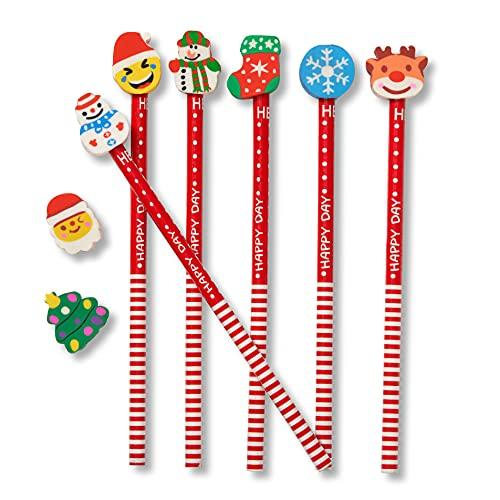 THE TWIDDLERS 50 Lápices Navideños con Borradores - Muñeco de Nieve Papá Noel Renos Árbol Navidad | Rellenos de Calcetín de Navidad, Bolsas Fiesta, Regalos para Niños