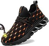 SUADEX Indestructible Steel Toe Shoes Men Women Work Safety Shoes Non-Slip Puncture-Proof Composite Toe Sneakers Orange 14.5 Women / 13 Men