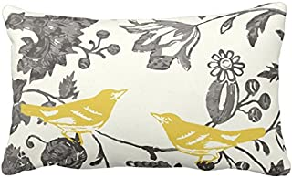 UOOPOO Trendy Yellow Gray Ivory Vintage Floral Bird Lumbar Throw Pillow Case Square 12 x 20 Inches Soft Cotton Canvas Home Decorative Wedding Cushion Cover for Sofa and Bed One Side