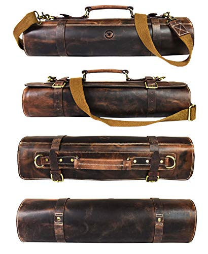 Leather Knife Roll Storage Bag, Elastic and Expandable 10 Pockets, Adjustable/Detachable Shoulder Strap, Travel-Friendly Chef Knife Case Roll By Aaron Leather Goods Arizona