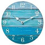 NIKKY HOME Orologio da parete rustico da spiaggia Coastal Batteria silenzioso silenzioso Orologio da fattoria blu in legno per tema nautico Bagno cucina soggiorno da letto 30,5 x 4,1 x 30,5 cm