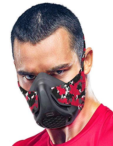 Sparthos Training Mask High Altitude Mask – for Gym Workout, Running, Cyclist, Elevation, Cardio - Fitness TrainingMask - Hypoxic Resistance Mask 2 3 – Urban Lung Exercise Face X Men [Red Camo + Case]