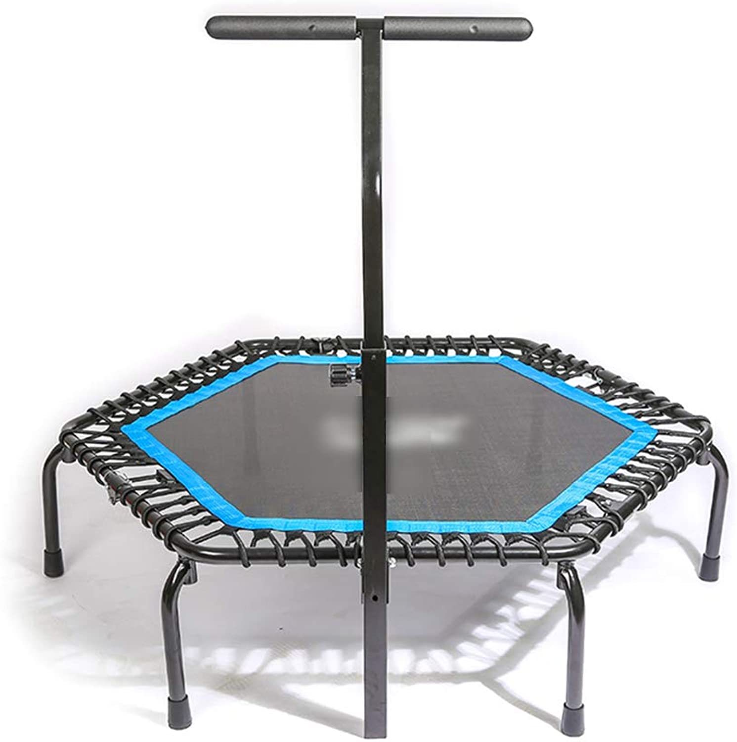Trampoline with Adjustable Handrail Load 200kg, Folding Trampoline Trainer, 53 inch Portable Trampoline Cardio Workout Fitness