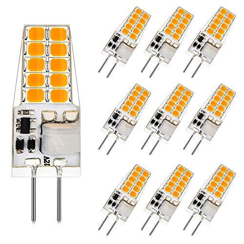 Aourow LED G4 Lampadina 3.5W,Bianco Caldo 3000K Lampadine G4 LED 350LM Sostituzione per Lampade Alogene 20W/35W,12V AC/DC,Senza Sfarfallio,Non Dimmerabile,Angolo del Fascio 360 °,10 Pezzi