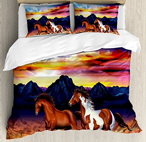 Ambesonne Western Duvet Cover Set Queen Size, Running Wild Horses at Sunset Artistic Rustic Landscape Colorful Sky Illustration, Decorative 3 Piece Bedding Set with 2 Pillow Shams, Multicolor