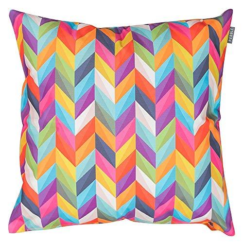 Bean Bag Bazaar® Coussin d'extérieur – 43 cm x 43 cm – Multicolore Rainbow Chevron et Orange – Garni de Fibres, résistant à l'eau – décoratifs Coussins pour Banc de Jardin, Chaise, ou canapé
