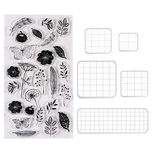 Acrylic Stamping Blocks Tools Set, BENBO 5 Pieces Assorted Sizes Clear Stamp Blocks with Grid Lines and 1 Sheet Clear Silicone Seal Stamps for Scrapbooking Crafts Card Making