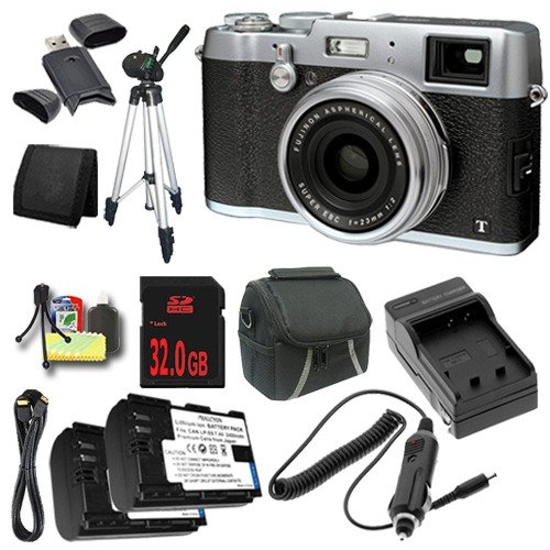 Fujifilm X100T 16.3MP CMOS Digital Camera (Silver) + Replacement Lithium Ion Battery + External Rapid Charger + 32GB SDHC Class 10 Memory Card + Carrying Case + Full Size Tripod + Mini HDMI Cable + SDHC Card USB Reader + Memory Card Wallet + Deluxe Starter Kit DavisMAX Bundle