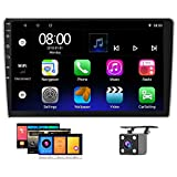Hikity Android 9 Double Din Car Stereo 10.1'' Touchscreen Radio System Built in GPS Navigation, WiFi Bluetooth FM, Split Screen Display, Dual USB Input, Steer Wheel Control, Mirror Link+Backup Camera